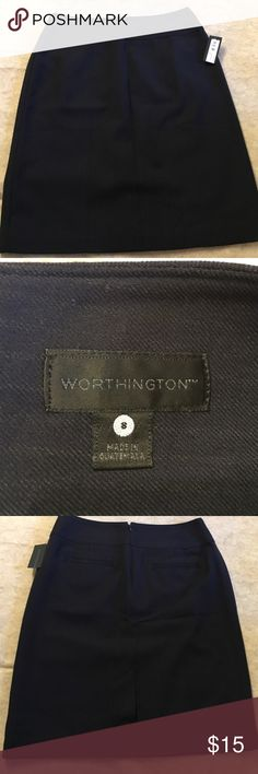 """Pinstripe pencil skirt NWT, office staple, navy pinstripe pencil skirt, rayon/polyester blend, waist 15"""", hip 20.5"""", length 22.5"""", 2 back faux pockets. Reasonable offer only. Worthington Skirts"""