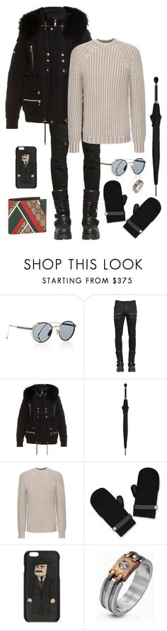 """""""My Boyfriend's Outfit No.18"""" by m-rossetti ❤ liked on Polyvore featuring Thom Browne, Faith Connexion, Balmain, Alexander McQueen, FAY, Dolce&Gabbana, Simon G. and Gucci"""