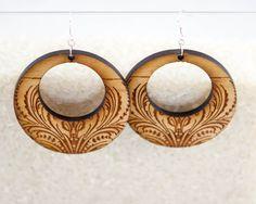 Large Mod Wood Circular Earrings -Henna Patterned Lightweight Big Round Circle Geometric Laser-Cut Earrings on Etsy, $18.00