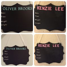 Chalkboard baby announcement signs for hospital room. Super easy & cheap and turned out so cute!