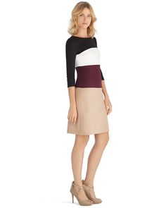 3/4 Sleeve Colorblock Shift Dress - White House | Black Market