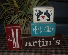 Wedding Marriage CUSTOM Personalized Family Last Name Monogram Initials Established Date Wood Sign Blocks Primitive Country Rustic on Etsy, $33.95