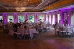 Room up lighting from Hot Mix Entertainment at Oak Park Country Club  http://www.hotmixentertainment.com/making-party-look-great/