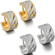 Oidea 4 Pcs Mens Womens Wide Bling Stainless Steel Huggie Hinged Hoop Earrings Gold,Silver by Oidea -- Awesome products selected by Anna Churchill
