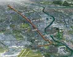 Le tracé du futur tramway T9 : Paris – Orly ville, via Thiais et Choisy-le-Roi