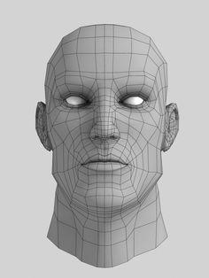 3d black african male head human, 3d model low poly, unity, maya