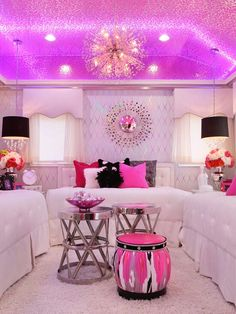 Love this room and the purple light reflection on ceiling