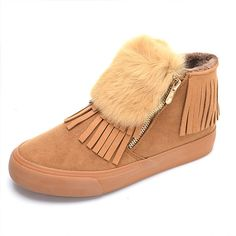 Sale 21% (30.48$) - Winter Women Plush Cotton Snow Boots Keep Warm Casual Outdoor Tassels Flats Shoes