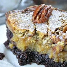 Fudgey brownie crust, ooey gooey center and sweet flaky top makes the best texture and flavor combo! That's the reason why you should make this Chocolate Pecan Ooey Gooey Butter Cake for Christmas or Thanksgiving dinner. desserts for christmas Sweet Recipes, Cake Recipes, Dessert Recipes, Just Desserts, Delicious Desserts, Desserts With Pecans, Cajun Desserts, Pecan Desserts, Ooey Gooey Butter Cake