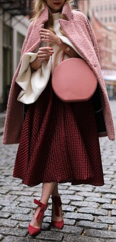Pink coat bag shoes and skirt with white oversized shirt for fashion week street style