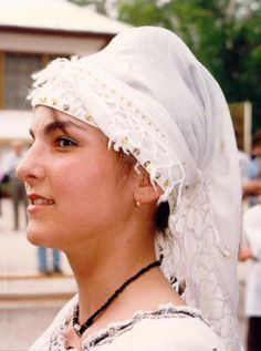 Romanian costume photoTopoloveni - Argeş White triangular cotton headscarf (testemel) edged with cotton fringes and sequins. Photo taken by Nick's mum in Topoloveni, Argeş, in April 1997 Folk Costume, Costumes, Fringes, Ethnic, Sequins, Culture, Traditional, Eye, Blouse