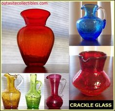 Crackle glass pitchers