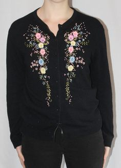 Black embroidered cardigan / 1990's classic