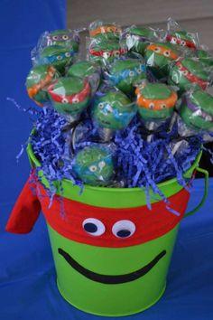 cake pops at a Teenage Mutant Ninja Turtles Birthday Party Turtle Birthday Parties, Ninja Turtle Birthday, Ninja Turtle Party, Ninja Turtles, 5th Birthday, Ninja Turtle Cake Pops, Birthday Cakes, Birthday Ideas, Birthday Decorations