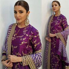Buy Anushka Sharma Designer Purple Sharara Suit Online in India at YOYO Fashion. Indian Salwar Suit, Pakistani Salwar Kameez, Indian Suits, Indian Attire, Indian Ethnic Wear, Indian Dresses, Punjabi Suits, Anarkali Suits, Sharara Suit