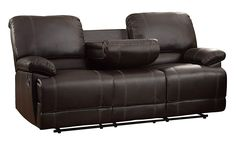 Faux Leather Double Reclining Sofa – Uniquely appointed for ultimate relaxation, The Cassville collection will provide your living room with a comfortable place to spend your downtime. Dark brown bi-cast vinyl covers the plush seating of this motion seating group. The sofa features a unique drop-down back center console and dual reclining ends. The accompanying chair completes the arrangement with a reclining mechanism.
