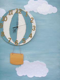 Hot Air Balloon Wall Clock nursery. Adorable.