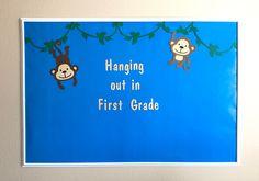 Monkey Bulletin Board, Classroom Bulletin Board Set, Jungle Bulletin Board, Bulletin Board Classroom, Monkey Themed Party, Jungle Party