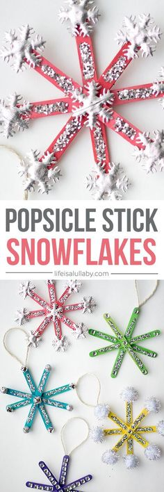 How to Make Popsicle Stick Snowflake Ornaments - these are so cute and easy to make!
