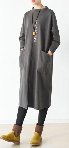 Brown oversize big pockets cotton dresses long pullover shirts Corte Y  Confección 49e5f1e6f218