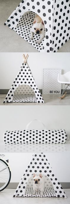 Everyone needs a little space just for themselves, including our furry friends. These teepees provide the perfect escape for your dog and are a charming addition to any room. Includes a matching zippered mat and a carry bag.