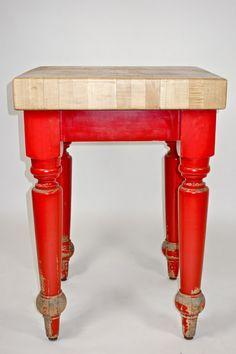 Maple Top Butcher Block Table.