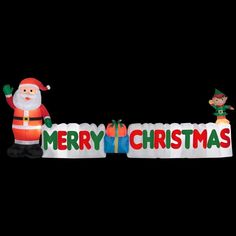 long outdoor inflatable merry christmas sign w santa clause elf