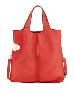 Halston Heritage | North-South Leather Tote Bag, Vermillion #halsonheritage #tote #bag