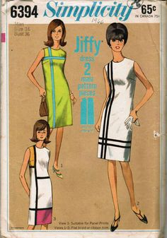 Womens Mondrian Mod Shift Dress Color Block Simplicity 6394 Misses Vintage Sewing Pattern Size 12 Bust 32 Mod Fashion, 1960s Fashion, Vintage Fashion, Sporty Fashion, Fashion Women, Moda Vintage, Vintage Mode, Vintage Dress Patterns, Clothing Patterns