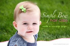 Simple Bow Hair Clips (with no-slip grip) Tutorial