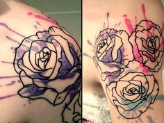 Beautiful watercolor/abstract rose tattoo