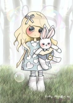 """""""Alice au pays des merveilles"""", by Lilly Muffin. Alice plays with her rabbit ragdoll."""