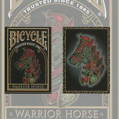 Bicycle Warrior Horse Deck by USPCC - Warrior Horse theme is a unique Bicycle Playing Card deck to kick off the Year of the Horse. The Chinese New Year starts January 31st, 2014. A lucky year! People born in horse years are active and energetic, charming and cheerful, hard-working, self-possessed and sharp. The horse is extremely likable, and skillfully acquires power, ... get it here: http://www.wizardhq.com/servlet/the-16218/bicycle-warrior-horse-deck-by-uspcc/Detail?source=pintrest