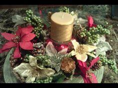 Como hacer un centro de mesa floral ( especial navidad , flores y bolas ) - YouTube