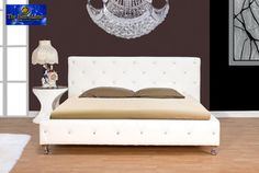 Contemporary White Cal. King Bed Bycast With Crystals