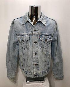 cfe554837c1 80s LEVIS Distressed Acid-Washed Jean Jacket   Vintage Light Acid Wash  Jeans