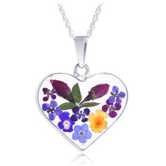 Multicolored Wider Heart-Shaped Real Flower Pendant