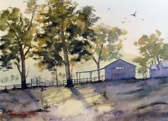 Painting shadows in watercolor landscape painting
