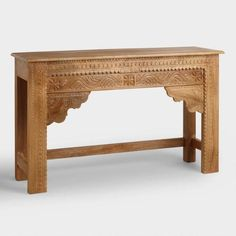 $500.  Natural Carved Wood Console Table - v1