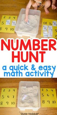 NUMBER HUNT: A quick and easy math sensory bin that's perfect for toddlers and preschoolers! A quick and easy math activity; a fun way to match numbers; an easy indoor sensory activity; a learning activity for toddlers from Busy Toddler by leila Math Activities For Toddlers, Toddler Preschool, Kindergarten Math Activities, Learning Numbers Preschool, Preschool Number Crafts, Letter Sound Activities, Number Sense Kindergarten, Early Learning Activities, Montessori Preschool