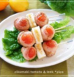 お弁当・おつまみにも☆「肉巻きトマトの串焼き」