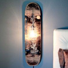 Repurposed skateboard lamp etsy $120