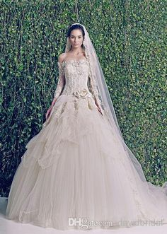 Free shipping, $103.13/Piece:buy wholesale 2014 Gorgeous Ivory Lace Applique Off-Shoulder Zuhair Murad Wedding Dresses Handmade Flower Long Sleeve Vintage Bridal Gowns Free Veil from DHgate.com,get worldwide delivery and buyer protection service.