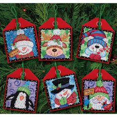 DIMENSIONS-Counted Cross Stitch Holiday Collection Ornaments. Make a stunning masterpiece for every room in the house this holiday season. This kit contains 14 count Aida, felt, pre-sorted cotton thread, felt, needle and easy to follow instructions. Finished size: six 4-1/2in ornaments. Design: Christmas Pals. Artist: Debra Jordan Bryan. Imported.