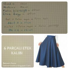 parçalı etek kalıbı Circle Skirt Pattern, Circle Skirt Dress, Circle Skirts, Sewing Patterns Free, Dress Patterns, Free Pattern, Sewing Hacks, Sewing Tutorials, Sewing Projects