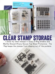 Stamp storage in a Avery D Ring binder and Martha Stewart/Avery Secure Top Sheet Protectors. The flap keeps the stamps from slippin out of the pockets.
