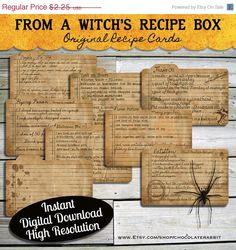 Halloween Witch Recipe Cards Instant Digital Download Vintage Style Collage Sheet Printable Scrapbook Image Clip Art INSTANT DOWNLOAD