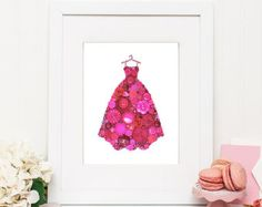 Pink Gown Button Art Pink Ball Gown Wall Hanging Fashion