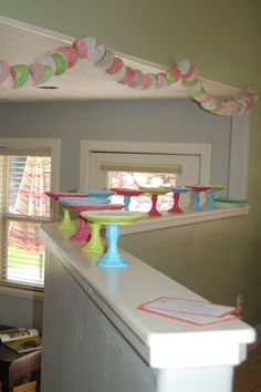 cute for bday parties :) could use dollar store tray/plates & candle sticks