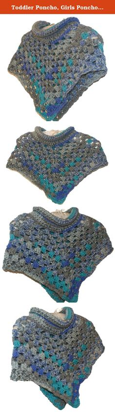 Toddler Poncho, Girls Poncho, Girls Capelet, Girls Cape, Cowl Neck Poncho, Girls Crochet Poncho, Poncho Kid, Poncho Teen, Teen Capelet. This crochet cowl neck poncho is a perfect winter accessory. The capelet is done in a variegated yarn that has light and dark gray with a bluish purple and a POP of peacock.This poncho can be done in any size from toddler to adult. Just pick the size you want when ordering. The toddler size poncho is pictured . Please allow 3 -4 days to make and ship.